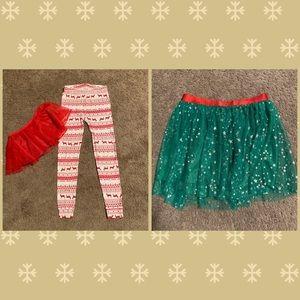 Girls Christmas Bottoms Size 7/8 Leggings/Tutus
